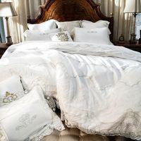 Wholesale Satin Egyptian Cotton Duvet Sets - French Egyptian cotton 800TC satin embroidery lace Wedding bedding set luxury duvet cover flat sheet bed linen quilt cover set
