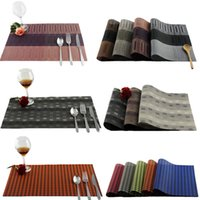 bamboo pieces for sale - Dining Table PVC Placemats One Piece Sale Solid Swallow Grid Bamboo Waterproof Heat Insulated Disc Pads For Home And Restaurant