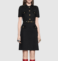 Wholesale Hot Sale fashion Women Button Designer Black Dress Fashion Sheath Casual Dresses E5909