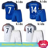 Wholesale Kids Griezmann Jersey Maillot De foot POGBA GIROUD Soccer Kit youth Payet MATUIDI MARTIAL Jersey children Football shirt set