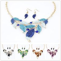 big pearl necklace wedding - DHL Free sets Bohemian Fasion Women s Jewelry Sets Meat Painted Leaved Colorful Earrings Necklace Country Style Big Necklace Choker
