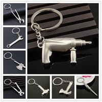 ax steel - New Arrival Hot Jewelry Silver Chains Pendant AX Saws Screwdriver Wrench Shovel Hammer Tool Keychains