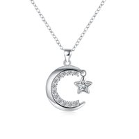 Wholesale 925 Silver Plated Pendant Charms Necklace Link Chains Fashion Jewelry with AAA Cubic Zirconia Heart Moon Crown Flowers Shape for Women Girls