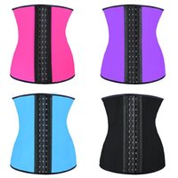 Wholesale 9 steel bone Latex Rubber body shaper Waist Trainer training corsets Corset Latex Corset Sexy Women Latex Waist Cincher Slimming Shapewear