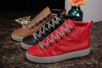 Cheap 2016 Men's Fashion Shoe Flat Genuine Leather Paris Brand Shoes EUR39-46 High Top Snekers Casual Shoes bal*enci*ga BL Arena Trainers Rouge