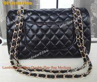 Wholesale Top Quality cm Black Lambskin Double Flap Bag Medium Genuine Leather Flap Bag Gold Hardware Women Fashion Shoulder Bag s