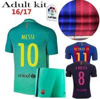 barcelona iniesta jersey - Home Barcelona Soccer jerseys Set A INIESTA SUITEZ MESSI NEYMAR JR Men s Set Barcelona jerseys kit Thai Quality