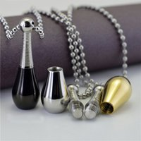 bead bottles - 316L Stainless Steel Urn Necklaces Ashes Case Cremation Perfume Bottle Pendant Fashion Bead Chain Necklace For Men Women Jewelry