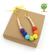 Bohemian Unisex Gift Chunky Crochet ball nursing Teething necklace boho style knit ball necklace Christmas gift rainbow breast feeding toddler NW1333