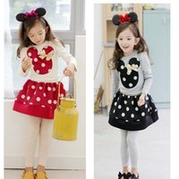 Cheap Baby Girls Cartoon Minnie Mouse Suit Long-Sleeved T-Shirt+Wave Point Skirt 2pcs Set Kids Clothing Cotton 100-140cm Fit 2-7Y
