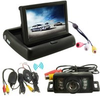 Wholesale Brand New Car Foldable LCD Monitor Wireless IR Rearview Parking Reversing Camera Kit degree Viewable Angle