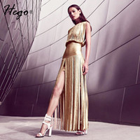 Wholesale Hego New Style Selena Foil Draped Bandage Dress Tassel Backless Bandage Gown Maxi Dress Sexy Costumes