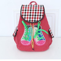 artwork shoes - 2016 New Korean Style Polyester Women Backpack Six Color Interior Zipper Pocket Cartoon Shoe women Bags