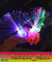 al por mayor parte del pavo real-DY342 LED parpadeante de pavo real fibra óptica luces dedo anillos para Raves o favor de partido