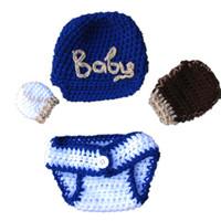 baseball catchers - Newborn Baseball Costume Handmade Crochet Baby Boy Girl Baseball Hat Ball Catchers Mittens and Diaper Cover Infant Photo Prop