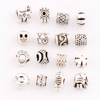 antique prints lots - 160PCS mixed Antique Silver Clover Football Sports Mask Paw Print Charm Beads Dangle Fit European Bracelets Jewelry DIY LM21