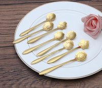 Wholesale Stainless steel flower shaped gold plated spoon The coffee stiring spoon Cherry blossom Sunflower etc beautiful flowers New fancy tableware