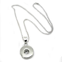 bead presses - noosa necklace Chunk Charm Snap Button Silver Pendant Necklaces women DIY long Press bead chain pendant necklace statement jewelry