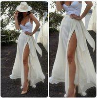 Mode d'été longues en mousseline de soie femmes Jupes En magasin Sexy haut de Split Pleat Longueur de plancher Robe longue Hot Style de femmes Jupes 2016 Bohemia Robe