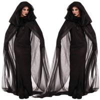 adult cloaks - Sexy Long Black Women Spooky Witch Costume Adult Party Fancy cloak Dress Halloween Dress Halloween Gifts With pair gloves