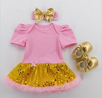 bebe dress - Baby Clothing Sets Infant Sequins Lace Tutu Romper Dress Jumpersuit Headband Shoes Set Bebe First Birthday Costumes girl tutu skirt