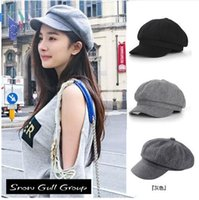 Stingy Brim Hat artist beret - Super warm High Quality Fashion Artist Wool Women Beret Hat For Women Cap Female Cap Casual Dome Bare Chapeu Feminino Boina