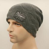 Wholesale Wholesales NEW men autumn Winter gorro woolen hats Korean Metal union jack labeling knitting caps outdoor very warm hats