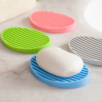Wholesale Creative Silicone Flexible Toilet Soap Holder Plate Bathroom Soapbox Filter Out Water Soap Stand Dish Fashion Home Accessories