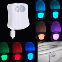 battery lamps - 8 Colors LED Toilet Night light Motion Activated Light Sensitive Dusk to Dawn Battery operated Lamp Indoor Lighting L1420