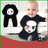 baby panda china - China treasure cartoon Panda baby boys girls jumpsuits children long sleeve black solid animal printed rompers kids outfits