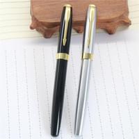 baoer ball pen - Baoer High Quality Silver And Black Clip Roller Ball Pen Business School Supplies Hot Gel Pen Material Escolar