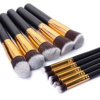 beautiful eyeliner - Professional Cosmetic Facial Make up Brush Tools Wool Makeup Brushes Set Kit Beautiful Black with Silver Gold