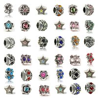 Wholesale Mix Alloy Crystal Charm Bead Retro Big Hole Silver Plated Fashion Women Jewelry European Style For Pandora Bracelet Necklace Promotion