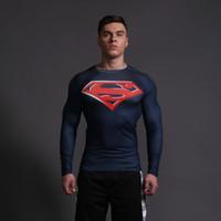 animal gym shirt - NEWEST GYM CLOTHING LONG SLEEVE COMPRESSION SHIRT MEN S MARVEL CAPTAIN AMERICA SIPDERMAN SUPERMAN MAN RUNNING TIGHTS T SHIRT