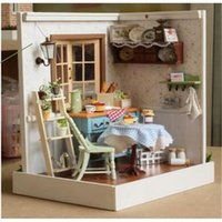 Wholesale Hot wooden doll house diy miniature dolls house furniture toys with styles for girls for Halloween Christmas birthday gifts