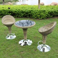 Wholesale Casual outdoor bar when rotating chair wicker and coffee table rattan lift combination