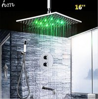 bathroom shower kits - Conceal Thermostatic Shower Mixer Inches Stainless Steel Shower Head Bathroom Hydro Power LED Shower Kit