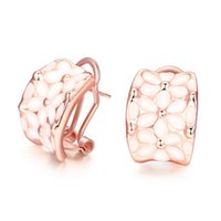 Wholesale Romantic Two color Rose Gold Silver Plated fresh Petal Style personality Circle Stud Earrings for Ladies Girls