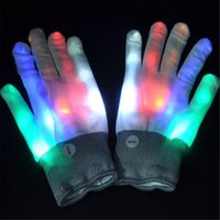 Wholesale 2Pcs Pair Party LED Gloves Rave Light Flashing Finger Lighting Glow Mittens Magic White Glove Halloween Christmas Decoration Party Accessory