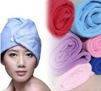 bath sheets - Hair Drying Caps Towel Dry Hat Nanometer Superfine Fibre Towels Wrap Bath Sheet Lady Magic Beach Use Colors Fashion Household Supply