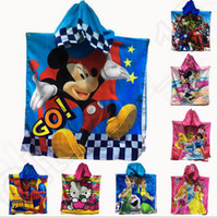 bathing robes - 19 design LJJK367 Spider Man KT minnie Unisex Kids Cartoon Animal Beachwear Bathing Poncho Hooded Swimming Wrap Towel Bath Robes top