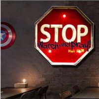 Wholesale metal signs LED Neon Sign decorative painting bar wrought iron wall decoration signboard Advertising sweeps a bar
