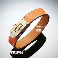 american food brands - Classic style Fashion brand leather bracelet Punk style metal bangle multicolor ring circle rivet leather bracelet red orange