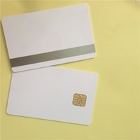 big lots contact - 200pcs PVC card SLE with track sliver magnetic stripe contact smartcard big chip IC card hotel key card ISO7816 protocol