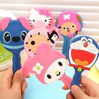 Wholesale girl favor silicone cartoon portable porcket mirror mini makeup mirrors kawaii makeup tool for girl