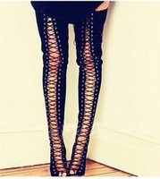 Cheap Lace Up Gladiator Thigh High Boots | Free Shipping Lace Up ...
