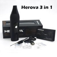 High Quality Herova 3 en 1 Vaporisateur Wax Dry Herb eliquid E Kit Cigarette Kit Bobines Chauffage Chambre 2200mah Herbal Vaporizer Pen Céramique