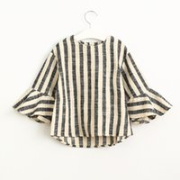 Wholesale Fly Sleeve Vertical Stripes Round Neck Long Sleeve Button Black and White Stripe Girls shirts Children Blouse
