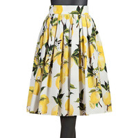 Wholesale 2016 Lemon Floral Printed Mid Calf Vintage Skirts Yellow Blue Women Swing pleated Flared Causal Skirts Women Clothing Cheap FS0222