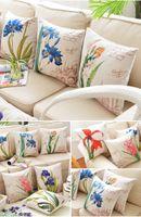 Wholesale Europe Pillow case pillowcase Elegant Florals bolster back cushion pillow cover for auto home supplies sofa Cotton linen quality cm